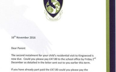 Year 6 – Kingswood 2nd Instalment Letter