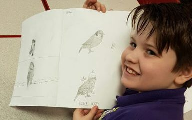 Jamie sharing his bird sketchings.