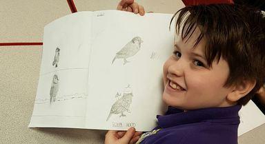 Jamie sharing his bird sketchings.