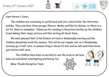Newsletter week ending Friday 13th January 2017