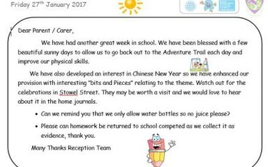 Newsletter for week ending Friday 27th January 2017.