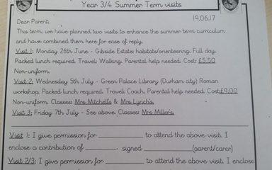 Classes 3/4 Summer Term Visit's