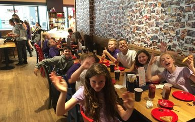 Leavers' trip to the cinema and Pizza Hut.
