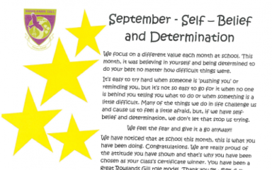 Our School Values – September 2017 = Self Belief & Determination