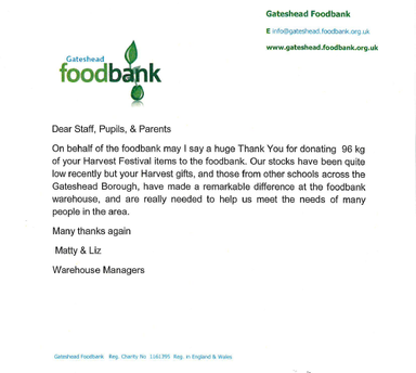 Thank you from Gateshead Foodbank